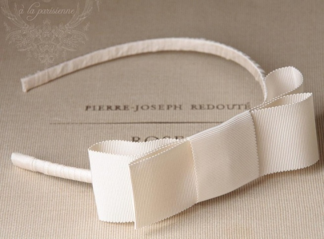 Petite Parisienne- Cream Wide Grosgrain Double Bow Headband